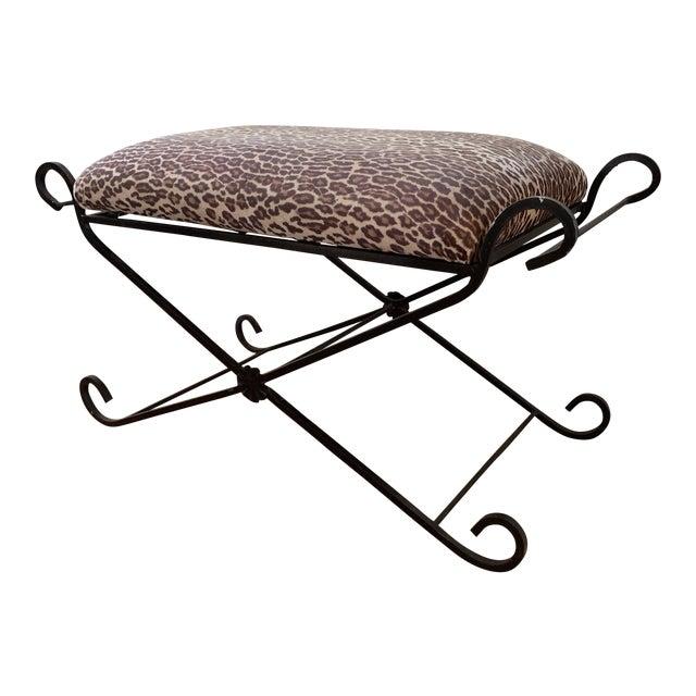 1990s Vintage Leopard Velvet Black Iron Bench For Sale