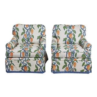 1990s Kavet Club Chairs in Ferrick Mason's Blue Orange Cacao - a Pair