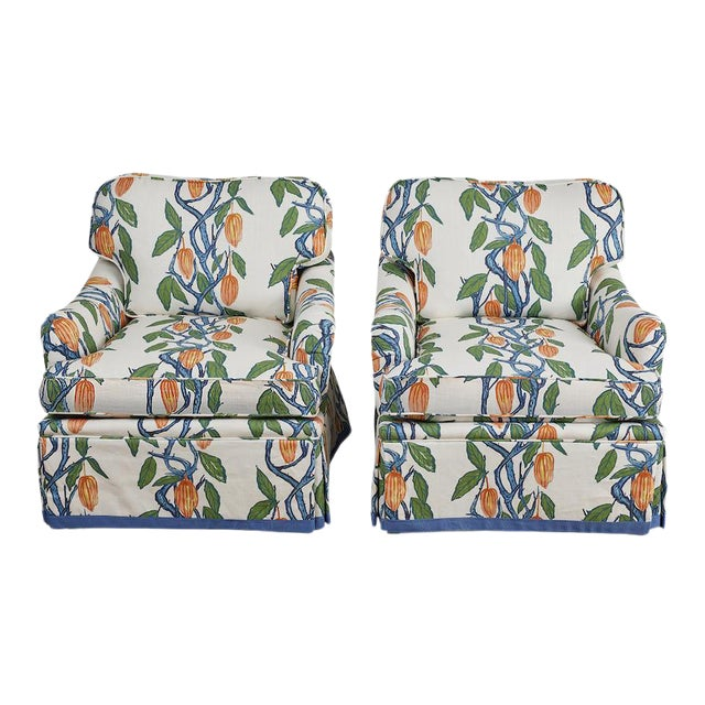 1990s Kavet Club Chairs in Ferrick Mason's Blue Orange Cacao - a Pair For Sale