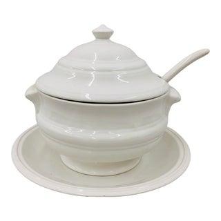 Vintage White Porcelain Covered Soup Tureen Set For Sale