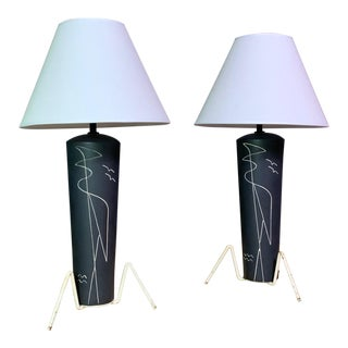 Pair 1950s Glazed Ceramic Sgraffito Lamps For Sale