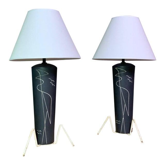 Pair 1950s Glazed Ceramic Sgraffito Lamps For Sale