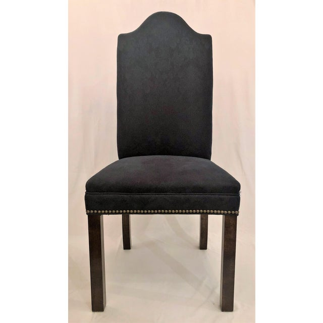 Set of 12 Mahogany and Dark Blue Upholstered Dining Chairs. For Sale - Image 4 of 4