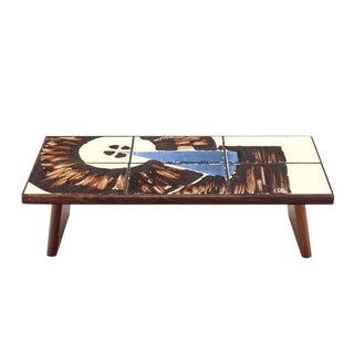 Tile Top and Rosewood Folding Legs Serving Tray For Sale