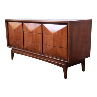 Mid-Century Modern Sculpted Walnut Diamond Front Triple Dresser or Credenza by United For Sale