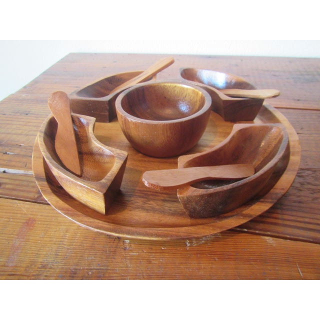 1970s Mid Century Modern Teak Hors d'Oeuvres Serving Tray - 10 Pieces For Sale - Image 11 of 11