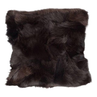 Luxurious Custom New Handmade Fox Fur Pillows in a Stunning Onyx Shade For Sale