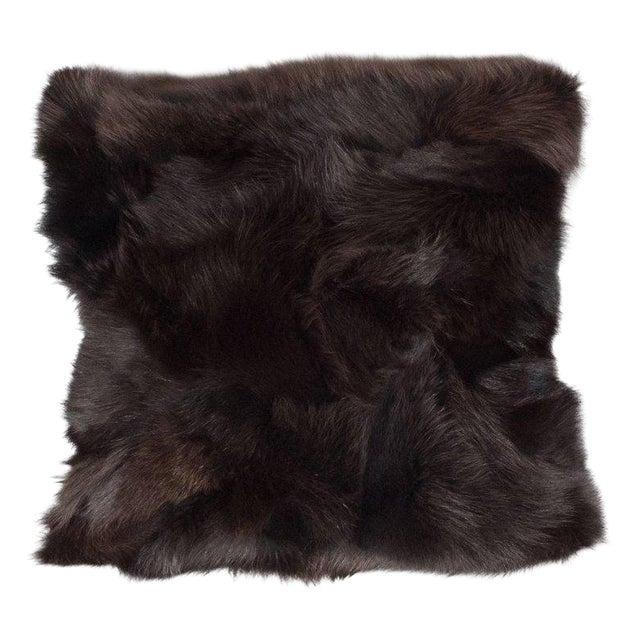 Luxurious Custom New Handmade Fox Fur Pillows in a Stunning Onyx Shade For Sale