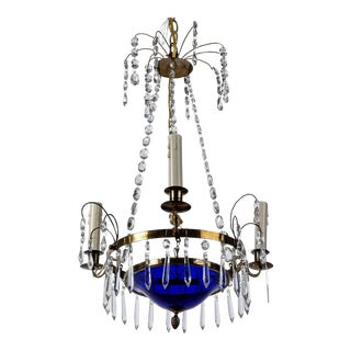 Swedish Crystal and Blue Glass Three Light Chandelier For Sale