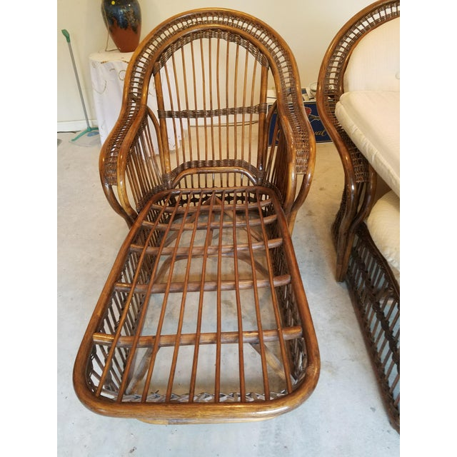 Vintage Wicker Rattan Chaise Lounges - A Pair For Sale In Atlanta - Image 6 of 9