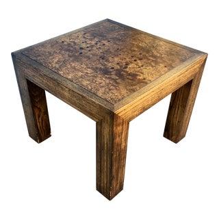 Vintage Brutalist Walnut Burl Wood Top Side Table For Sale