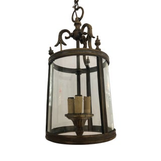 French Bronze Lantern With Original Curved Glass For Sale