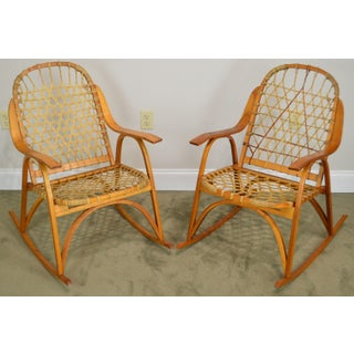 "Snowcraft Bentwood Hickory and Rawhide Pair ""Snowshoe"" Rockers Rocking Chairs (A) Preview"