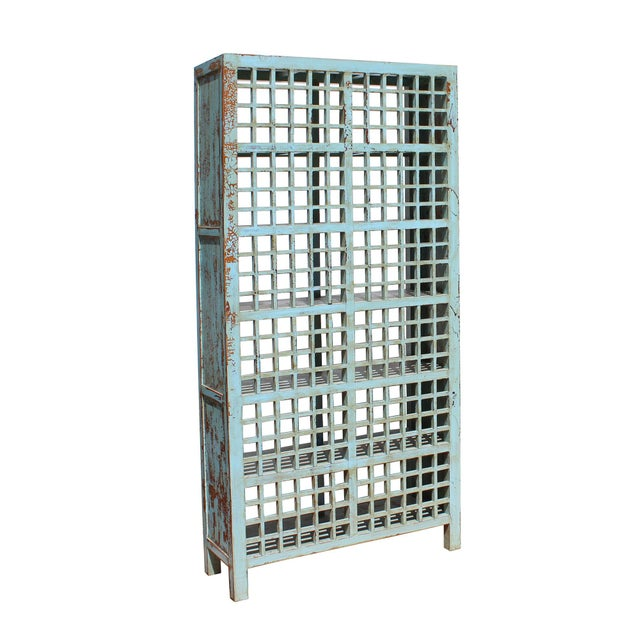 Chinese Distressed Blue Lacquer Display Bookcase Cabinet For Sale - Image 4 of 6