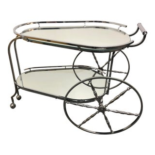 1970s Italian Modernist Chrome Two Tier Bar Cart For Sale