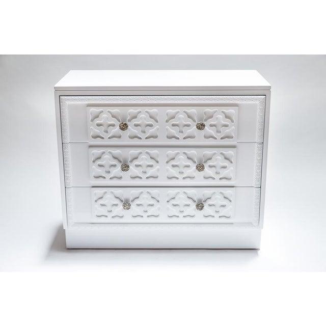White Lacquer Trellis Dresser - Image 2 of 6