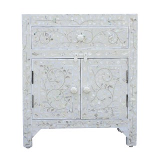 Floral Mother Of Pearl Inlaid Nightstand
