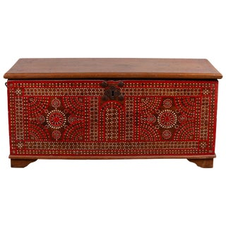 Antique Madura Blanket Chest With Inlaid Mother-Of-Pearl Red Geometric Decor For Sale