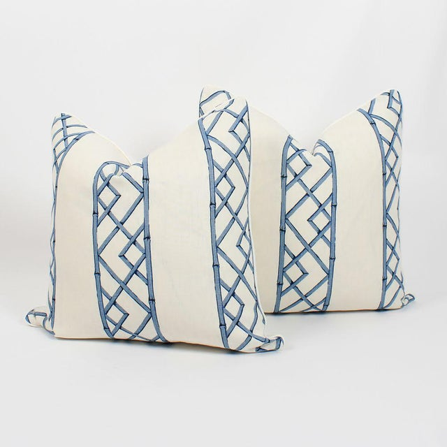 Blue & Ivory Palm Beach Linen Trellis Pillows, a Pair For Sale - Image 9 of 9