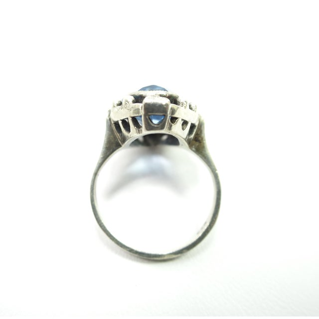 Metal Edwardian 835 Silver & Blue Topaz Ring,1910 For Sale - Image 7 of 12
