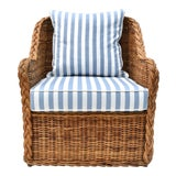 Image of Michael Taylor Wicker Rattan Arm Chair For Sale