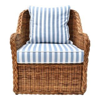 Michael Taylor Wicker Rattan Arm Chair For Sale