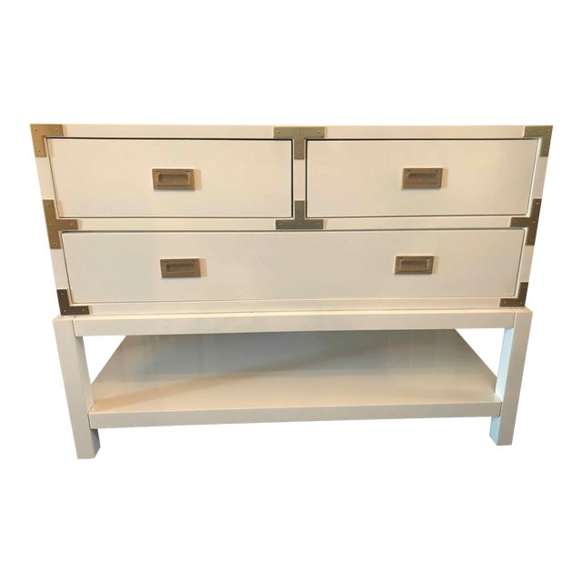Modern Bungalow 5 Tansu Campaign White Lacquered Console For Sale In Washington DC - Image 6 of 6