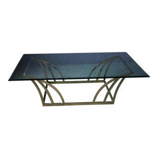 1980s Vintage Brass & Glass Large Coffee Table For Sale
