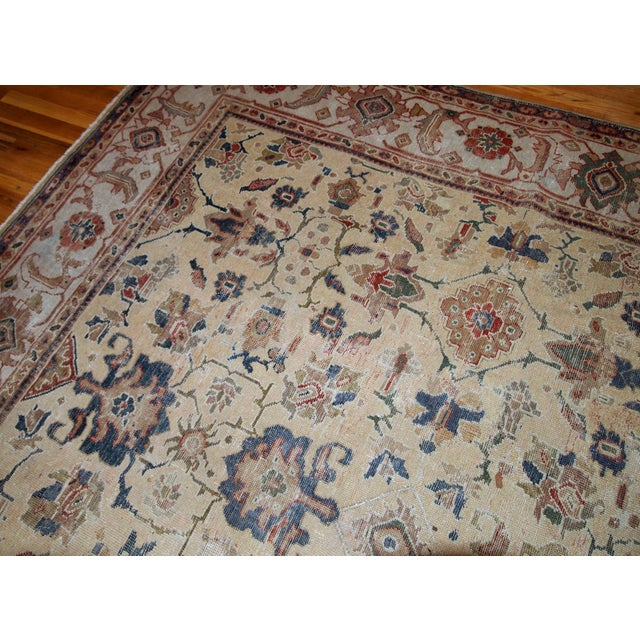 Textile 1900s Handmade Antique Persian Mahal Distressed Rug 8.10' X 11.6' For Sale - Image 7 of 9