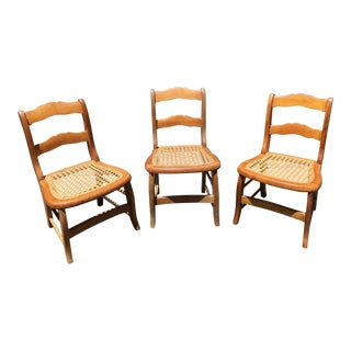 19th Century Caned Maple Children's Chairs - Set of 3