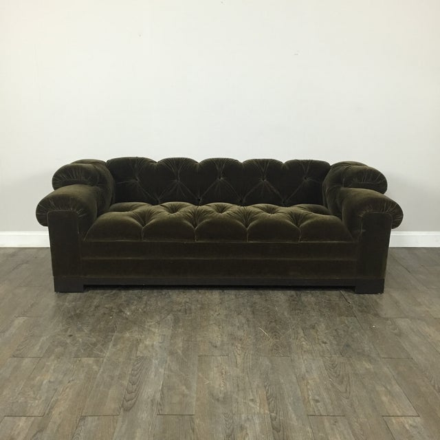 Tufted Green Mohair Sofa - Image 2 of 11