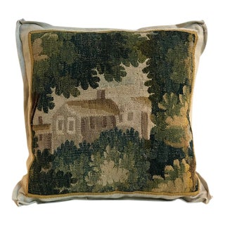 18th Century French Aubusson Verdure Fragment on Ecru Linen Pillow For Sale