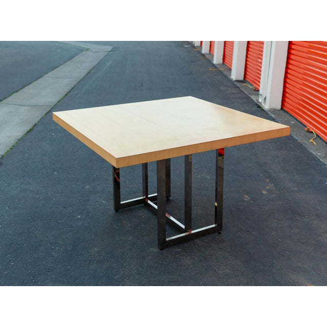 Mid-Century Modern Francois Langin Custom Wood and Chrome Dining Table For Sale - Image 12 of 12