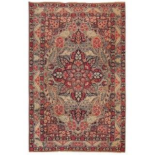 1880s handmade antique Persian Kerman Lavar rug 4.1' x 6.3' For Sale