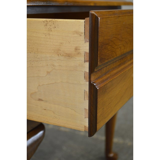 Brown Harden Solid Cherry Pair of Vintage Square Queen Anne End Tables For Sale - Image 8 of 10