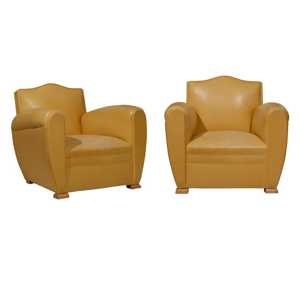 Handsome Art Deco Club Chairs In Yellow Ochre Leather   Image 11 Of 11