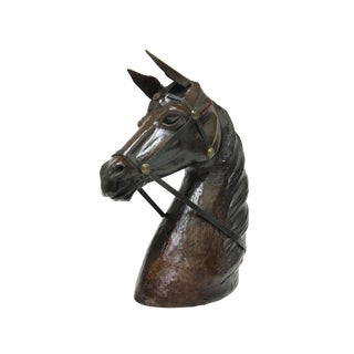 Late 20th Century Vintage Handmade Leather Horse Head Bust Statue Figurine For Sale
