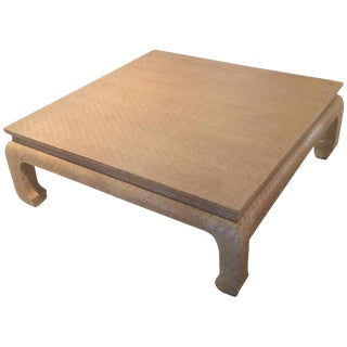 20th Century Regency Baker Raffia Wrapped Ming-Leg Coffee Table For Sale