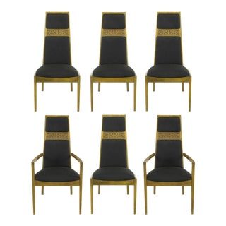 Sculpted Ash Tall Back Kroehler Dining Chairs - Set of 6 For Sale