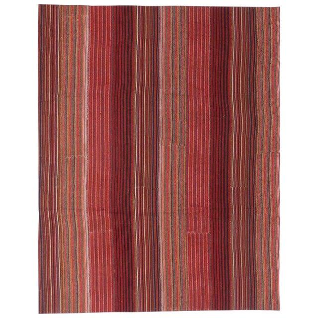 1960s Vintage Turkish Jajim Kilim Flat-Weave Rug - 8′4″ × 10′7″ For Sale