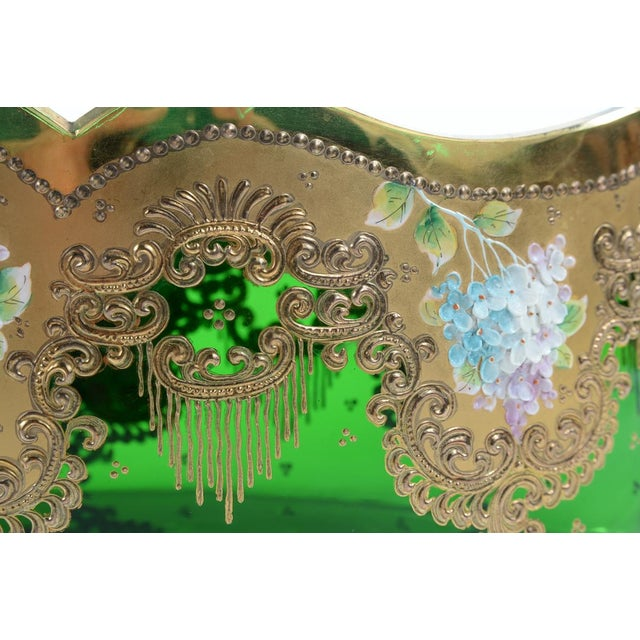 Moser Bohemian Emerald Green Glass Centerpiece - Image 4 of 9