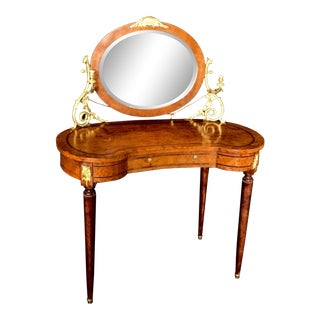 French Inlaid Burled Walnut Gilt Bronze Mounted Dressing Table With Candle Arms For Sale