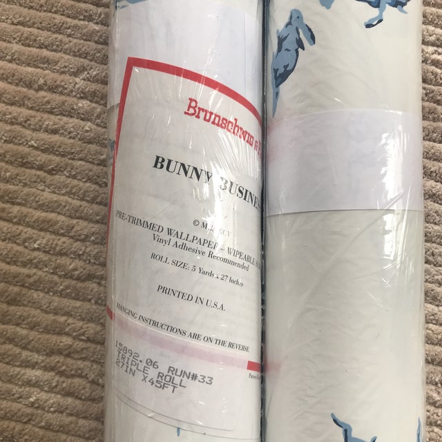 "Modern Brunschwig & Fils Wallpaper ""Bunny Business"" Roles - Two Triple Rolls For Sale - Image 3 of 8"