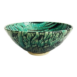 Large Vintage Green and Black Pottery Bowl For Sale