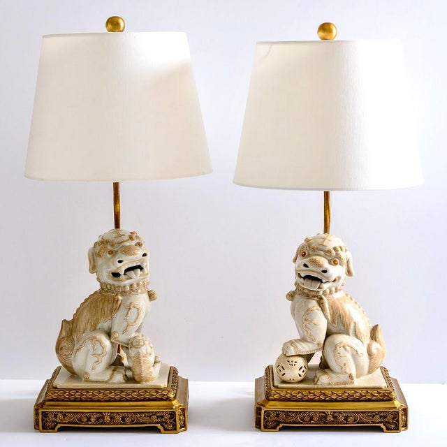 Hollywood Regency Asian Foo Dog Porcelain Table Lamps on Bronze Stands, A-Pair For Sale - Image 3 of 13