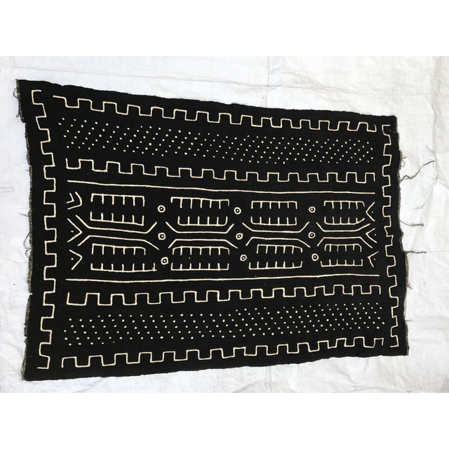 African African Handmade Mud Cloth Tribal Design Textile For Sale - Image 3 of 9