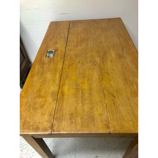 Wood Antique Country Farm Table / Desk With Two Drawers For Sale - Image 7 of 13