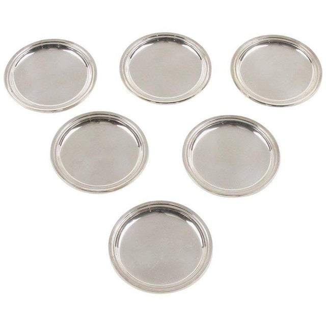 Glass Jezler Modernist Sterling Silver Barware Coasters - Set of 6 For Sale - Image 7 of 7