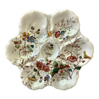 1890 English Victorian Flowers Oyster Plate For Sale