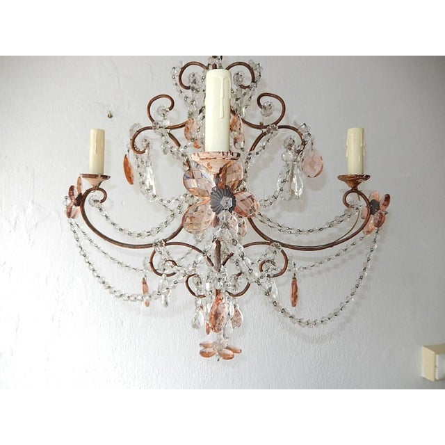 Baroque French Pink Maison Baguès Style Crystal Flower Chandelier For Sale - Image 3 of 11